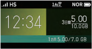 WX06機種の初期画面(ホーム画面)