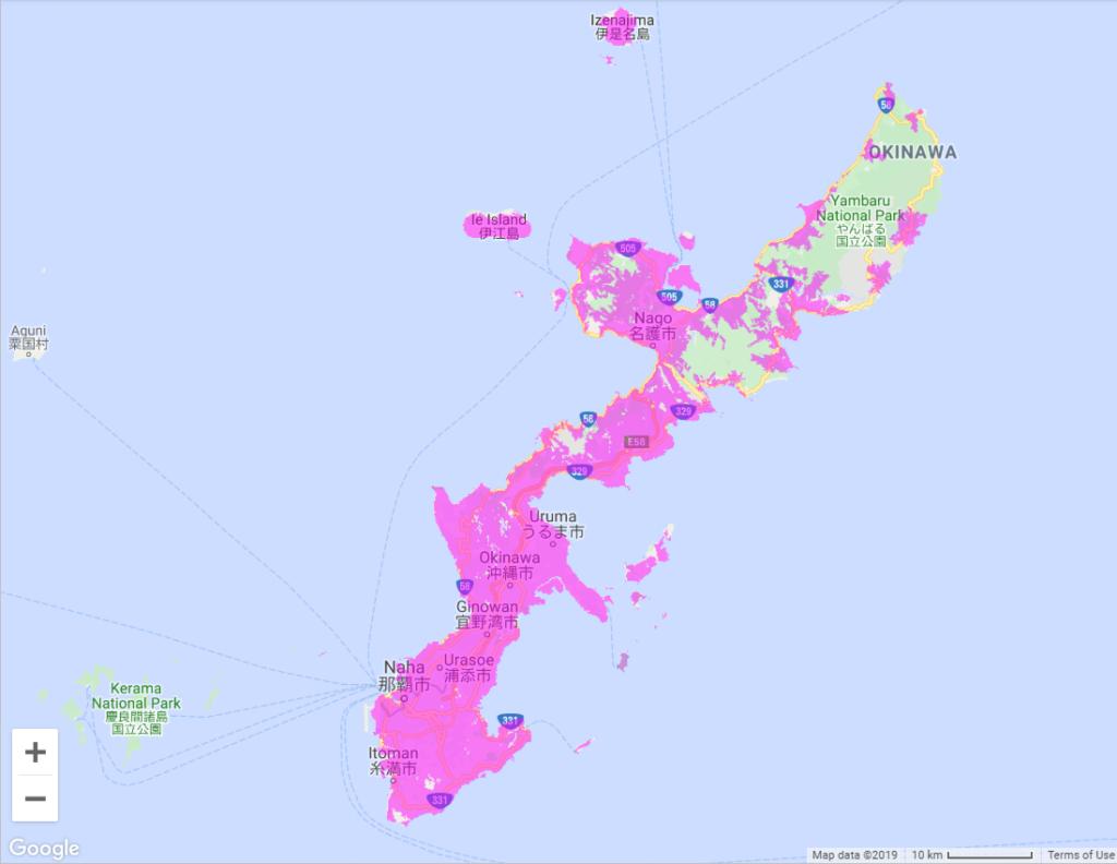 沖縄のWiMAXサービスエリアマップ