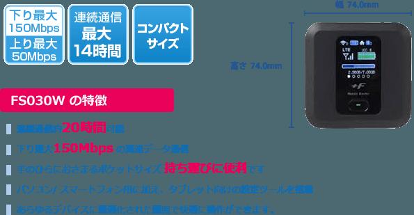 ポケットWiFiルーター・FS030W