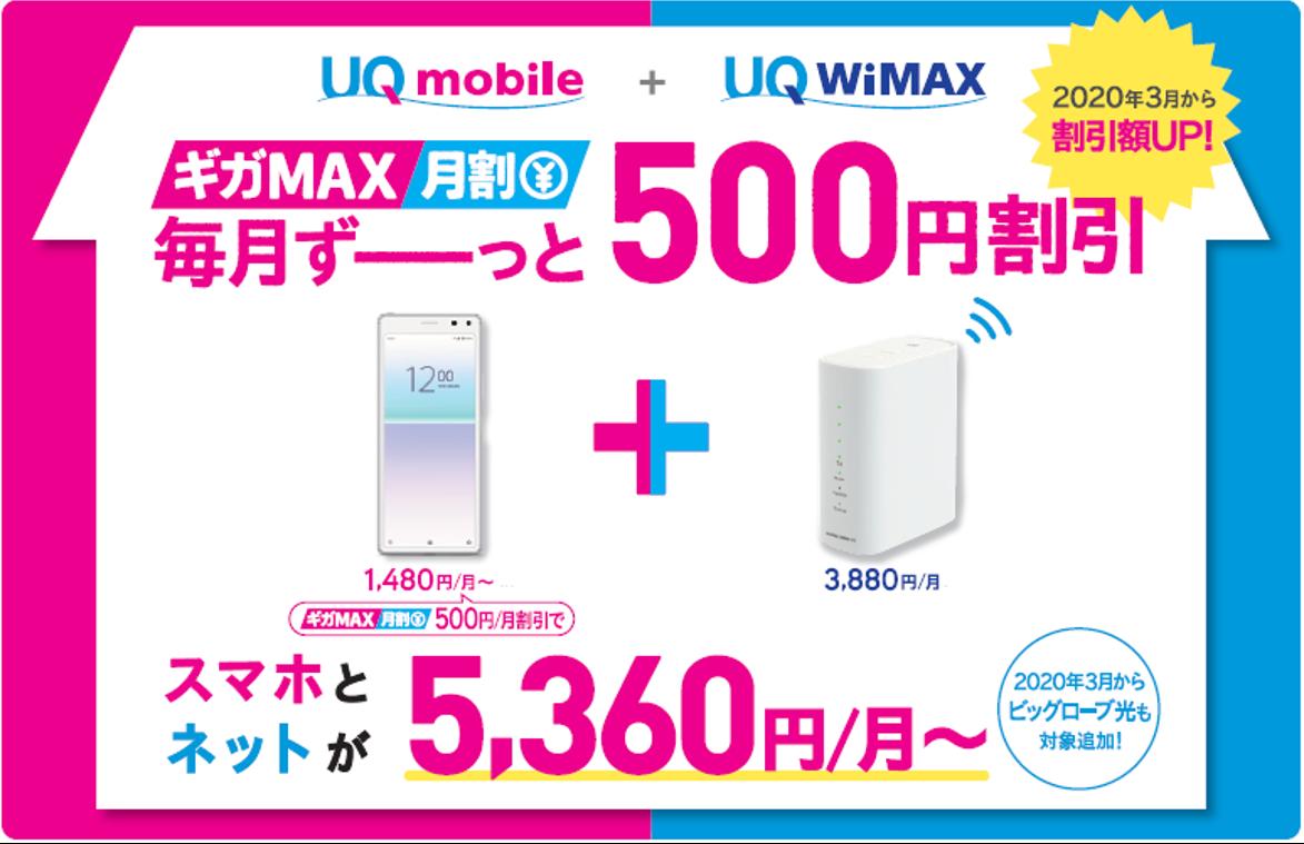 UQコミュニケーションズのギガMAX月割(2020年3月~)