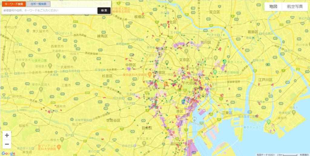 auの5Gサービス提供エリアマップ