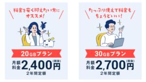 ネクストモバイルの月額料金プラン