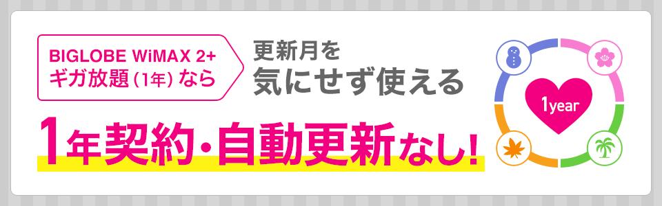 BIGLOBE WiMAX 2+の1年契約