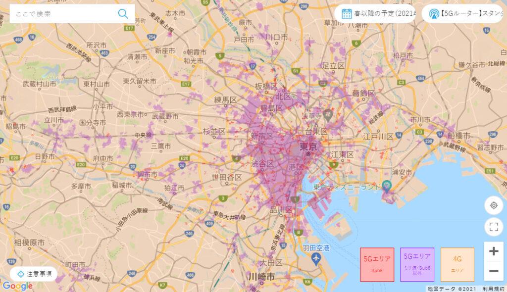 WiMAXの5G対応エリアマップ